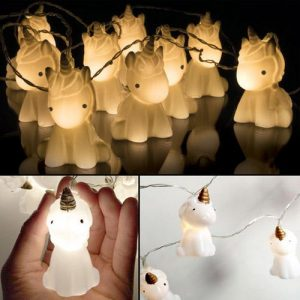 10 Pcs Cute Unicorn Head Led String Night Light