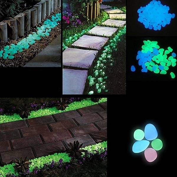 10 Pcs Glow in the Dark Fluorescent Pebbles and Shells Stone Mix Color