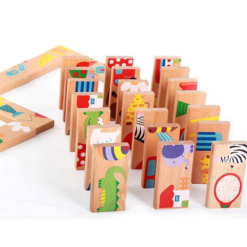 28 Pcs Animal Colored Dominoes Wooden Puzzle