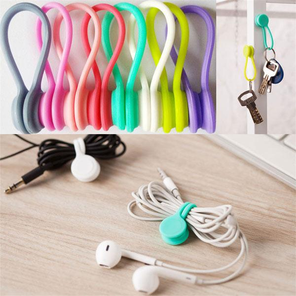 3Pcs Multifunction Magnet Earphone Cord Winder Cable Organizer Clips