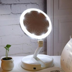 Double-sided Rotation Portable LED Lighted Folding Vanity Mirror