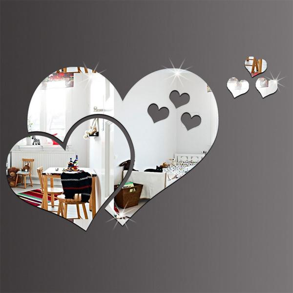 Lovely Love shaped Mirror Wall Creative Stickers
