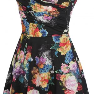 Bamboo Leaf Floral Print Ruffle V Neck Dress