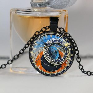 Astrology Clock Pendant Necklace
