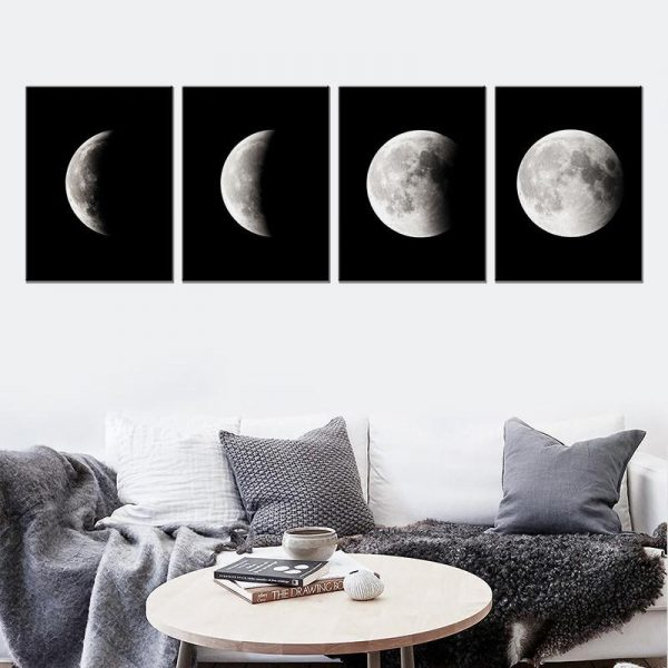 4 Pcs Lunar Phase Change Moon Canvas Painting