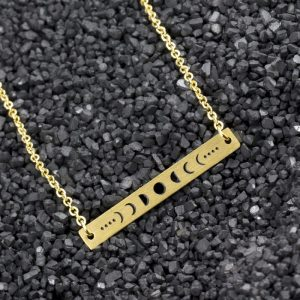Stainless Steel Chain Long Bar Lunar Necklace