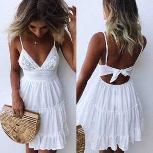 Sexy V-Neck Strap White Lace Dress